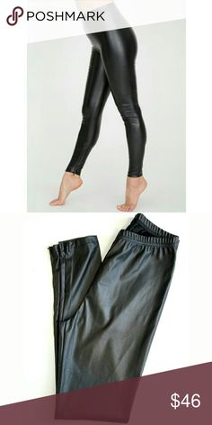 American Apparel Vegan Leather Ankle Zip Leggings American Apparel Vegan Leather Ankle Zip Leggings.  A side zipper legging in smooth vegan leather construction features a bit of stretch that improves with age and wear. 60% Polyester 40% Polyurethane construction. NWT  11 in rise 30 in inseam  No Trade or PP Bundle discounts Offers Considered American Apparel Pants Leggings