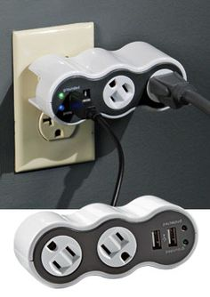 portable surge protector with phone charging usb portals