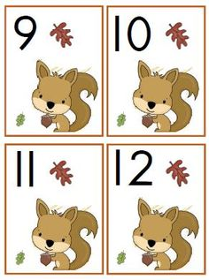 Squirrel calendar tags for fall! Toddler Teacher, Step Kids, Autumn Forest, Autumn Crafts, Math Numbers, Matching Games, Forest Animals, Autumn Theme, Elementary Schools