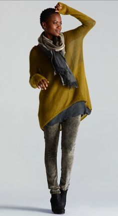 Eileen Fisher Jewel Neck Tunic in Plaited Mohair