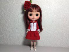 Dress & hair pin red velvet  for Blythe/Pullip