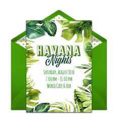 We can't get enough of this Havana Nights themed online invitation. It's the perfect way to set the scene for a memorable summer party. Personalize with your party details and deliver via text message or email. Cuban Party Theme, Party Themes, Party Ideas, Online Invitations, Party Invitations, Banner Design, Party Banner, Havana Nights Party, Summer Party Decorations