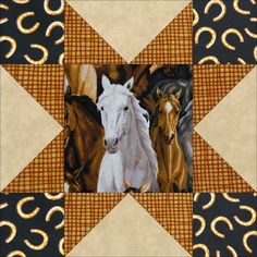This easy to sew western outdoors horse quilt kit in earth tone colors feature fussy cut horses in colors of white and brown running about on green pasture. A green blender, beige leaf blender print a