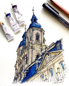 ドイツ・ゲスヴァインシュタインの教会 -- Basilica in Goessweinstein , Germany #水彩画 #透明水彩 #スケッチ #watercolor #watercolour #watercolorsketch #watercolorpainting #urbansketch #urbansketchers #urbansketching #travelsketch #archisketcher #drawingart #drawingsketch
