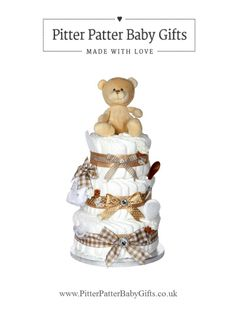 Three Tier Unisex Nappy Cake www.PitterPatterBabyGifts.co.uk