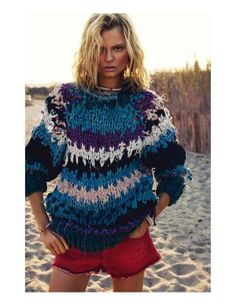 chunky knit at the beach, when the sun goes down