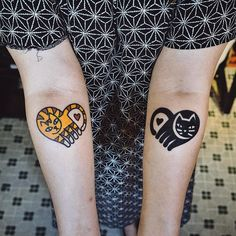 Matching tattoos by Woo Loves You Bff Tattoos, Best Friend Tattoos, Body Art Tattoos, Tattoos For Guys, Cool Tattoos, Tatoos, Small Tattoos, Cat Tattoo, Tattoo You