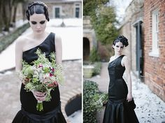 A super sultry & dark bridal portrait session with a black wedding gown, smokey eyes & dramatic hair | Images: IYQ Photography