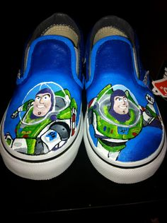 Buzz lightyear shoe painting. Been looking for some white canvas slip ons for this, but just realized I can use any color, really.
