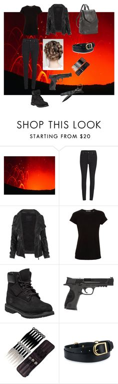 """Not a Damsel"" by witchcraft-and-candlelight ❤ liked on Polyvore featuring Cheap Monday, AllSaints, Vince, Timberland, Smith & Wesson and Leatherbay"