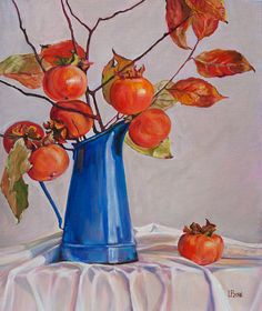 Oil Painting Persimmons Original Artwork Home Decor Wall Decor Wall Hanging Art Still Life Original Paintings For Sale, Original Artwork, Ouvrages D'art, Hanging Art, Artist At Work, Decoration, Textile Art, Les Oeuvres, Painting & Drawing