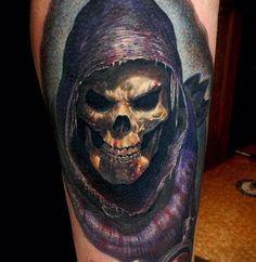 death skull tattoo by Andy Engel