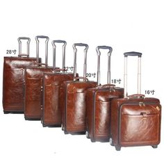 24 INCH Coffee Leather Trolley Luggage Business Trolley Case Men's Suitcase Travel Luggage Rolling koffers trolleys Ship by EMS