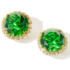 3.8ct Absolute Round Emerald-Color Framed Stud Earrings ($60) ❤ liked on Polyvore