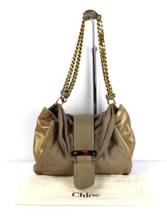Chloe Taupe & Gold Leather Chunky Chain Strap Handle Bag Retail $1035 #Chloe #ShoulderBag