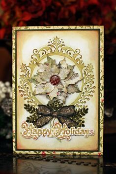 Shabby Happy Holidays Card...with paper poinsettia...In My Own Imagination.
