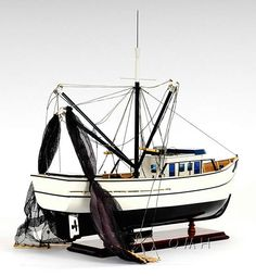 """Shrimping originated in the Southern regions of the continent and the tool of the trade has always been a """"Shrimp Boat"""" which is...(continued) http://www.themodelship.com/shrimp_boat_model.html $227"""