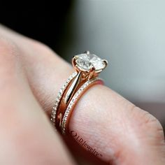 "Here's a little something to make your day ""come up roses"". This stunning rose gold solitaire is perfectly paired with our rose gold stackable eternity bands...I'm feeling happier already  #idjewelry #idjbling #idjsparkle #elegant #bridetobe #diamondring #classy #rosegold #solitaire #stackable #cominuproses #comimguproses #fashion #style #tueaday"