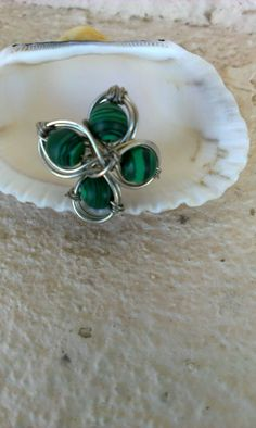 Silver Wrapped Malachite Ring Silver 925 Wrapped by MyDreamLamps