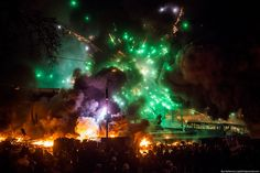 """Protest in Kiev. In """"Berkut"""" periodically throw fireworks. Then the whole area blooms with bright colors and people shout """"Hurray"""""""