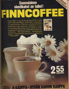 "An ad for ""Finnish"" export coffee, 1966, with possibly Arabia cups."