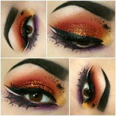Spooky Halloween eye make up idea Eye Makeup Art, Makeup Inspo, Makeup Eyeshadow, Makeup Inspiration, Purple Eyeshadow, Makeup Ideas, Halloween Eyeshadow, Cool Halloween Makeup, Halloween Looks