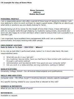 homemaker resume example cv example for stay at home mom sample resume for stay at home mom returning to work - Sample Resume For Stay At Home Mom Returning To Work