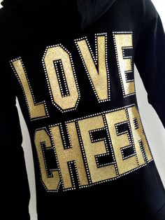 LOVE CHEER Zip Up Hoodie Jacket gold Glitter & by Bowfriendz, $34.99