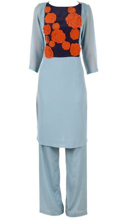 Powder blue 3D flowers tunic with pallazo pants available only at Pernia's Pop-Up Shop.