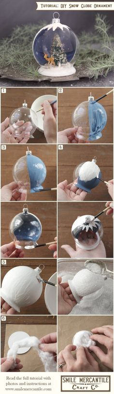 diy christmas snow globe ornament- could always not glue down the fake snow inside of it so you could shake it and it would be more like a snow globe