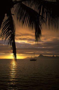 French Polynesia, Society Islands, Tahiti, View of Morea, Sunset, Sailboat