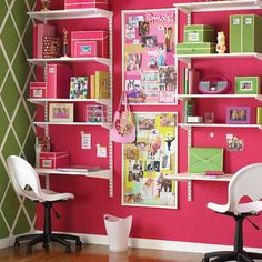 good idea for desks for small space like in boys room - minus the pink!!