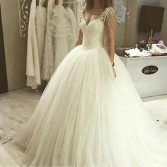 Off Shoulder Beading Sequin Lace Wedding Dress Ball Gown White Ivory Bridal Gown