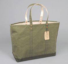 STANLEY & SONS: Coal Bag w/ Cloth Handles, Printed Olive Drab