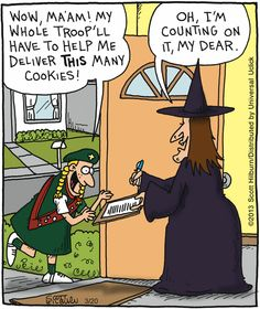 Girl Scout cookies order ~ Halloween witch comic | The Argyle Sweater by Scott Hilburn via GoComics