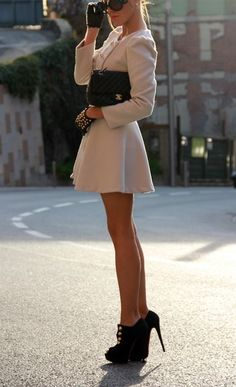 Black and Cream. Chanel and Louboutin. Gorgeous Gams and Leather gloves. find more women fashion on misspool.com
