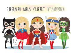 Clipart de chicas superhéroe lindo set 2: archivo de por HandMek