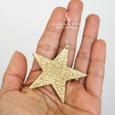 6 Glittered Gold Star Ornaments 2 by caramelos on Etsy