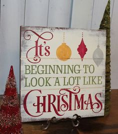 CHRISTMAS Sign/Subway Style/It's Begining to look a lot like CHRISTMAS/Typography/Christmas Decoration/Country Christmas on Etsy, $27.95