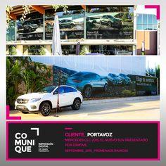 Mercedes GLC 2015, el nuevo SUV presentado por Dimovil.  Los nuevos Mercedes GLC fueron presentados en Murcia el pasado 24 de septiembre por Dimovil, concesionario oficial en la Región. Se trata del nuevo SUV medio de Mercedes, con el que se reemplaza al veterano GLK.  En colaboración con la agencia murciana Portavoz, fuimos los encargados de la producción e instalación de la gráfica de gran formato de los nuevos modelos alemanes en los jardines de Promenade