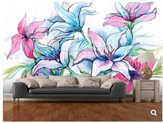 Custom papel DE parede Lily Flowers murals for the living room bedroom TV background wall waterproof wallpaper Flower Mural, Flower Wall Decals, Outside Wall Art, Graffiti Flowers, Wall Waterproofing, Apartment Painting, Garden Mural, Zeina, Rainbow Room