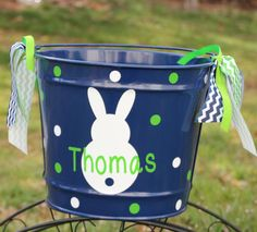Personalized volleyball easter basket pail monogram easter basket items similar to personalized easter basket monogrammed easter bunny bucket easter pail easter egg hunt easter party favor monogrammed bunny boy girl on negle Images
