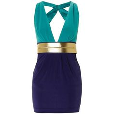 Lipsy Colour Block Gold Belted Dress - Dresses - Womens - Freemans
