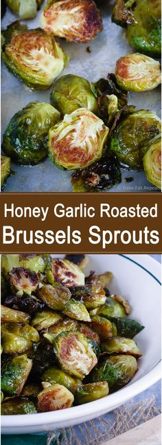 Honey garlic roasted brussels sprouts - tender on the inside, crispy edges and honey garlic flavour - a great way to change up the usual side dish!