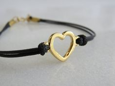 Heart bracelet Gold bracelet Black cord bracelet by HLcollection, $22.00