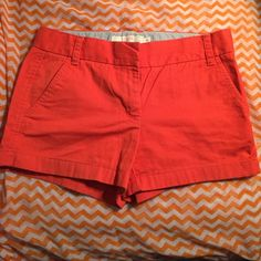 NWOT JCrew Chino Shorts in Orange (size 2) Perfect shorts but not in my size! Ordered final sale and needed one size up. I own these in other colors and love them! Wash and dry easily, fit and length are flattering and versatile. J. Crew Shorts