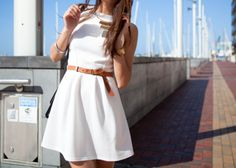 Simple dress + belt+ gold necklace- Definitely makes me wish for summer...