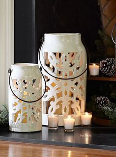 Snowflake Punched Ceramic Lanterns. Have this and love it!