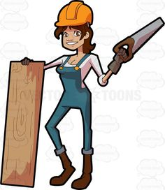 A female construction worker poses with a slab of wood and saw #cartoon #clipart #vector #vectortoons #stockimage #stockart #art
