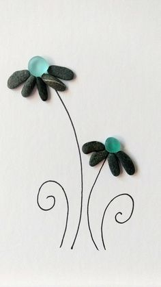 Unframed 5 by 7 sea glass flower pebble art birthday gift